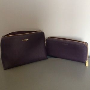Coach purple saffiano leather cosmetic bag/wallet